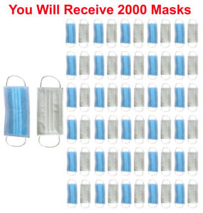 2000x Disposable Face Mask 3 ply Soft Earloop Medical Surgical Dental Allergy