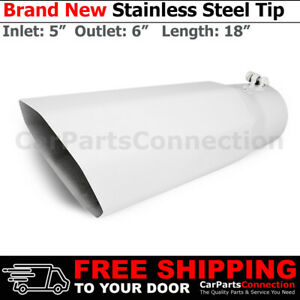 Universal Truck Angled Octagon White 18 Inch Bolt on Exhaust Tip 5 In 6 Out