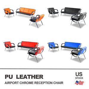 Office Waiting Room Chairs Set Pu Leather Airport Guest Visitor Reception Sofa