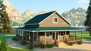 Log Cabin Kit 6 X 8 D Logs walnut Ridge 40 X 28 1715 Sq Ft 58 850 00