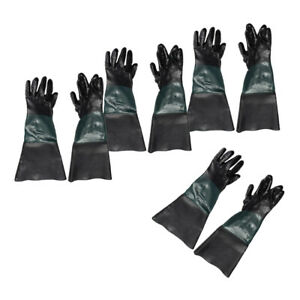 4 Pair 7 X 24 Durable Sandblasting Sand Blast Blasting Gloves