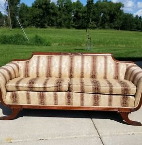 Vintage Duncan Phyfe Style Carved Wood Sofa