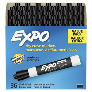 Expo Low Odor Dry Erase Markers Chisel Tip Black Pack Of 36