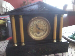 Very Rare Pretty Antique Victorian Slate Fully Working Clock Non Chimer