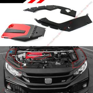 For 2016 19 Honda Civic Jdm Red Blk Type R Style Engine Cover Side Panel Cover