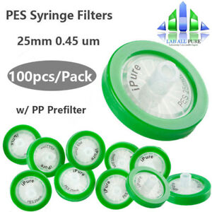 Pes Syringe Filter 0 45 m 25mm Hydrophilic W Pp Prefilter 100pcs pack Lab
