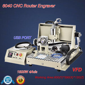 Usb 4axis 1500w 6040 Cnc Router Engraver Wood Metal Mill Drill Engraving Machine