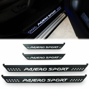 Black Door Step Scuff Plate With Led Fit For Mitsubishi Pajero Sport 2015 17