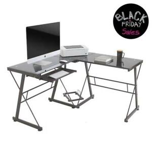 L Shaped Office Computer Desk Glass Corner With Keyboard Tray Black