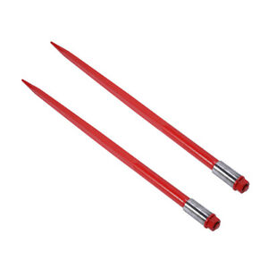 Two 49 3000 Lbs Hay Spears Nut Bale Spike Fork Tine Red Pair Hd