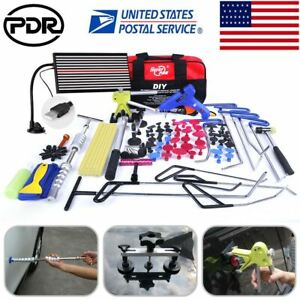 110 Us Pdr Push Rods Tools Paintless Dent Repair Puller Lifter Hammer Led Light