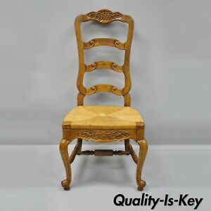 Bernhardt Oak Wood Ladder Back Dining Side Chair Country French Woven Rush Seat