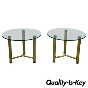 Pair Of Metal Faux Bamboo Round Glass Top Low Side End Tables Hollywood Regency
