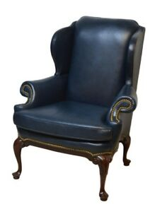 Hancock Moore Mahogany Leather Wing Back Chair
