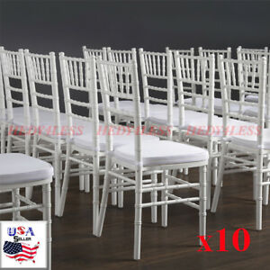 10 pack White Chiavari Stackable Wood Wedding Party Venue Banquet Chairs