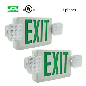 2packs Green Exit Sign Emergency Fire Lighting Combo Unit Battery Safety Lights