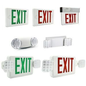 Led Exit Sign Emergency Light Red green Compact Combo Fire Safety Battery Backup