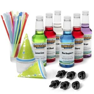 Snow Cone Kit 6 Syrups 16 Oz 50 Cone Cups 50 Spoon Straws 6 Pourers Shaved Ice