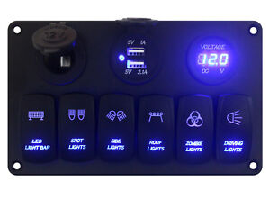 12v 24v Blue Led 6 Gang Switch Panel Power Outlet usb Charge Socket volt Meter