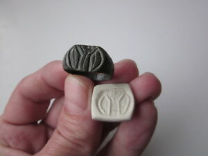 Ancient Roman Bronze Engraving Ring Seal With Stylized Image Of A Roman Standard