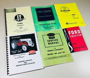 Lot 6 Ford 9n 2n Tractor Manual Shop Operators Parts Catalog Service Repair Set