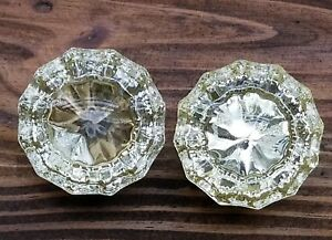 Beautiful Vintage 12 Point Crystal Glass Door Knob Set Of 2 Free Shipping