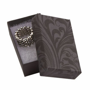 Jewelry Boxes 50 Black Gray Elegant Print Cotton Filled 2 X 1 X 7 8