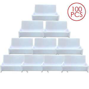 100pcs White Acrylic Business Card Holder Display Stand For Office Desk