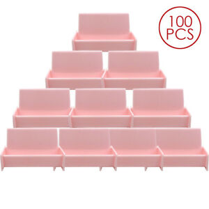 100pcs Pink Acrylic Business Card Holder Display Stand For Office Desk