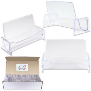 12 Pcs Clear Acrylic Desktop Office Business Card Holders Display Stand Plastic