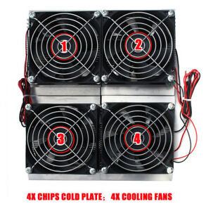 4 Cooler Semiconductor Refrigeration Radiator Thermoelectric Peltier Cold Plate