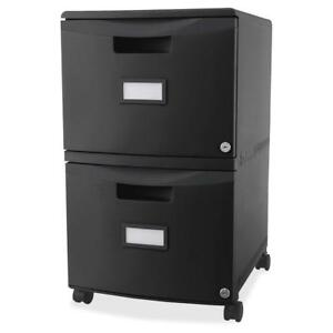 Storex 2 drawer Locking Mobile Filing Cabinet 15 5 X 18 5 X 26 3 2 X