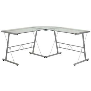 Glass L shape Computer Desk With Silver Metal Frame