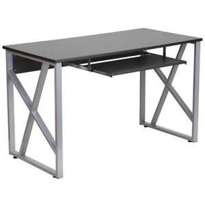 Black Computer Desk With Pull out Keyboard Tray