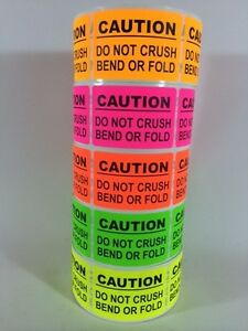 2500 2x3 Caution Sticker Label Neon 10 Smiley Thank You Do Not Bend Fragile