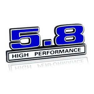 5 8 Liter 351 Windsor Engine High Performance Emblem Logo In Blue Chrome Trim