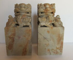 Vintage Pair Asian Chinese Carved Soapstone Foo Dogs Chops Seals Book Ends 6