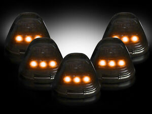 1999 2016 Ford Super Duty Smoked Cab Roof Lights W Amber Led Bulbs Install Kit