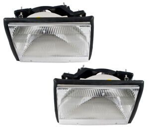 1987 1993 Ford Mustang Complete Stock Headlights W Adjusters Rubber Seals Bulbs