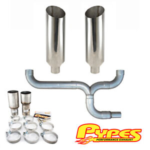 Dodge 5 9l 2500 3500 Diesel 10 Miter Cut Pypes Stainless Dual Exhaust Stack Kit