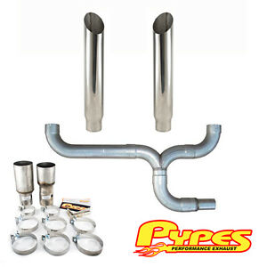 6 Miter Cut Double Stack Stainless Pypes Exhaust Kit Dodge 2500 3500 Diesel