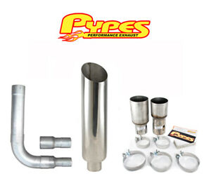 10 Miter Cut Single Stack Stainless Pypes Exhaust Kit For Ram 2500 3500 Diesel