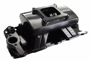 Black Sbc Sheet Metal Fabricated Aluminum Intake Single Carb Chevy Tunnel Ram