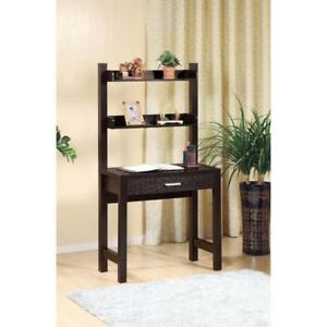 Contemporary Style Desk With 2 Shelves Dark Brown