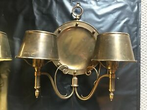 Antique Vtg Brass Large Nautical Ship Wall Mount Sconce Electrical Lamp 24 X22