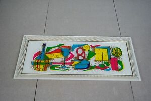 Mid Century Bent Glass Hors D Oeuvres Tray Platter Bright 50s 60s Party