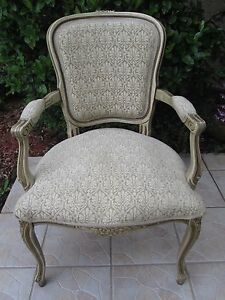 French Carved Upholstered Side Chair By Najarian