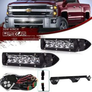 30w 7 2pcs Led Light Bar W Behind Grille Bracket Wiring For Chevy Silverado