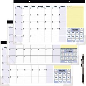 At a glance 2018 2019 Academic Year Desk Pad Calendar Compact 17 3 4 X New