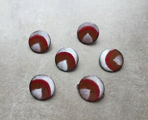 Vintage Mid Century Modern Sprayed Red White Red Brown 6 Enamel Buttons Set